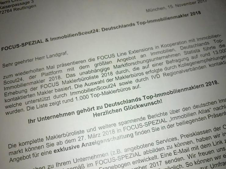 Deutschlands Top-Immobilienmakler 2018 – Landgraf Immobilien Reutlingen unter den Besten