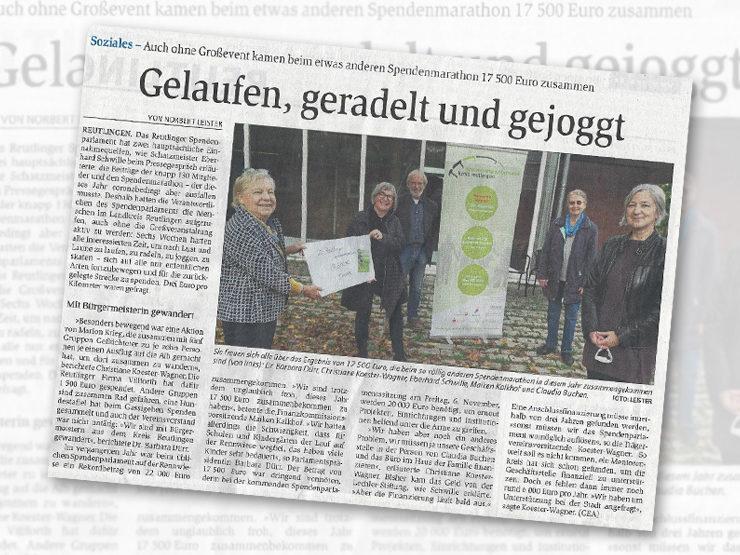 Erfolgreicher Spendenmarathon auch ohne Großevent – Reutlinger GEA berichtet