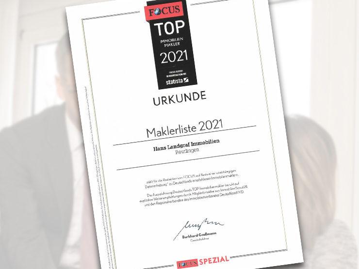 FOCUS-Maklerliste 2021:  Hans Landgraf Immobilien ist Top-Makler